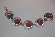 Silver Armlet Bracelet Bangle with Rhodochrosite 925 Sterling Jewellery