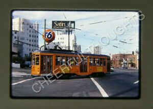 Original '84 Kodachrome Slide San Francisco Muni 1834 Trolley action  17E8