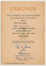 """DDR JENA 1961 - Urkunde über """"Freiwillige Aufbaustunden"""" (25441)"""