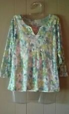 Ruby Rd S Top 3/4 Sleeves Over Tank Twofer Green Blue Print Blouse EUC Soft