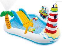 Intex 57162 piscina gonfiabile fishing cm 218x188x99 con stazione gioco e scivol