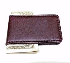 Brown Money Clip Leatherette Magnetic Cash Credit Card  Wallet Clipper