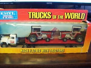 "ERTL #1407 ""TRUCKS OF THE WORLD"" MACK FLATBED & MASSEY FERGUSON TRACTORS, VGC"