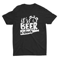 Beer O'Clock Funny t shirt USA Print Adult Humor Graphic Men Cotton drinking fun