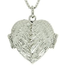 Angel Wings Locket Sterling Silver Heart Charm Pendant Necklace Box Chain