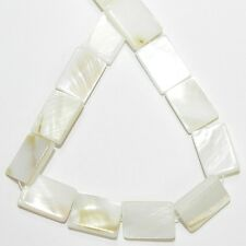 """MP914 White 15mm Flat Rectangle Mother of Pearl Gemstone Shell Beads 15"""""""