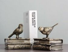 Stylish Shelf Display Decorative Bookends Resin Book Ends with Birds - Set of 2