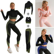 Ladies Long Sleeve Yoga Set Zipper Crop Top Sport Bra Gym Workout Fitness Suits