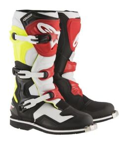 Alpinestars MX Boots Tech 1 - Black/White/Yellow/Red- Adult Sizes