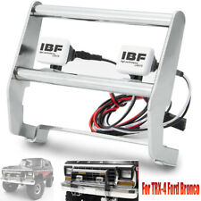 Metal Front Bumper w/ 2 LED Light for 1/10 RC Traxxas TRX-4 Ford Bronco Crawler