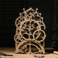 Pendulum Clock DIY Wooden Vintage Desk Decoration Mechanical Gears Crafts Gift