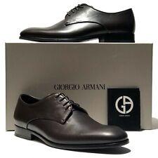 Giorgio Armani Brown Leather Formal Dress Derby Oxford 8 41 Men's Shoes Tuxedo
