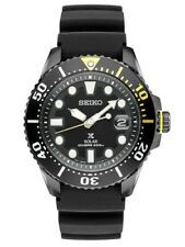 NEW SEIKO PROSPEX SOLAR BLACK PVD CASE BLACK RUBBER STRAP 43MM  SNE441