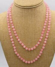 Fine Natural 6mm Pink Rose Quartz Gemstone Beads Necklace 36""