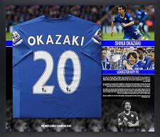 Shinji di Okazaki 岡崎 慎 Leicester City a mano firmato incorniciato Camicia 2015/2016 campioni.