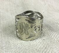 Antique Napkin Holder Ring Silver Plated Engraved Monogram Cipher