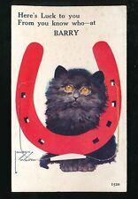 Wales Glamorgan Glam BARRY Cat Horse Shboe Pocket Novelty 1934 PPC Lawson Wood