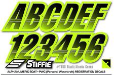 STIFFIE Techtron TT60 Boat PWC Letter Number Decal Registration Blk Atomic Green