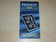 58646) Peugeot 106 205 309 405 605 Preise & Extras Prospekt 09/1992