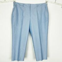 TALBOTS Blue Oxford Cotton Signature Fit Capris Cropped Pants Chinos - Size 18