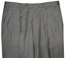 PREOWNED INCOTEX ITALY MEDIUM GRAY 2 PLEAT SUPER 100'S HAND MADE DRESS PANTS 34