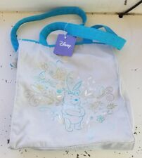 Disney Winnie The Pooh Canvas Tote Bag Womens Teal Turquoise Flowers