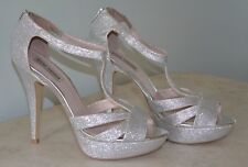 Steve Madden Emele Silver 10 M Stilletto Shoes 00130865 Prom Wedding Evening