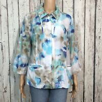 Chico's Light Zip Up Windbreaker Jacket Misses 2 LARGE 12 Sheer Floral Metallic