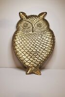 """Gold Pewter/Metal Owl Large Appetizer Serving Tray 17"""" L x 11"""" W"""