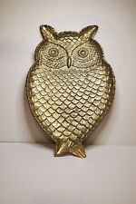 "Gold Pewter/Metal Owl Large Appetizer Serving Tray 17"" L x 11"" W"