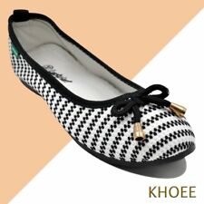 Khoee LKF-03 White Black Jenny Women's Doll Ballet Flat Shoes