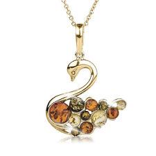 Daniel Steiger Orange & Green Amber Gold Plated 925 Sterling Silver Swan Pendant