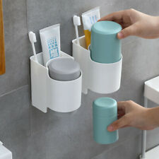 2Cups Toothpaste Dispenser Bathroom Wall Mounted Toothbrush Holder Organizer Set