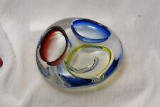 Mid-Century Murano Art Glass  Three Color Cigar Ashtray 6 Inches across