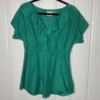 Anthropologie Vanessa & Virginia Size 6 Women's Green Silk Short Sleeve Top