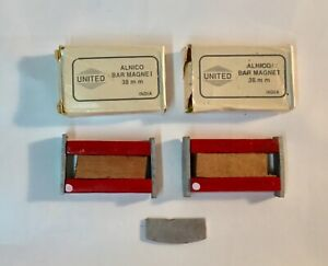 United Alnico Bar Magnets 38 mm Lot of 2 With Box Educational