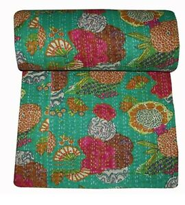Handmade Stitched Cotton GREEN MULTI Colorful Fruits printed Bedspread Kantha