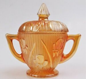 Jeannette Carnival Glass Iris and Herringbone Sugar Bowl with Lid