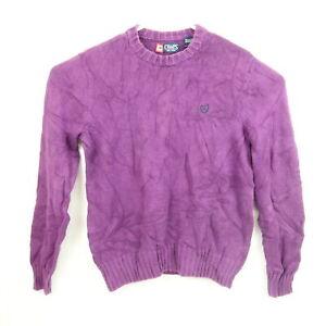 Ralph Lauren Chaps Mens Knit Sweater Size S Purple Crew Neck Pullover Jumper