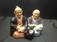 Vintage TILSO Japanese HP Sitting Man & Woman Resin Figurine