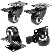 4 Pack Heavy Duty 3 Inch Caster Polyurethane Wheels with Brake Swivel Top Plate!