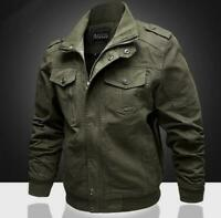 Mens 100% Cotton Solid Color Zipper Loose Outdoors Casual Jacket Plus Size Coats
