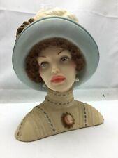 """Cameo Girls Lady Head Vase Judith 1910 """"Transatlantic Lady"""" COA - 7"""" Tall"""
