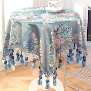 Luxury European Style Round/Square Tablecloth with Tassel Embrodered Table Cover
