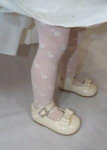 Flower Girls Super Soft Tights Black Cream White Baby Pink Love Heart Design thi