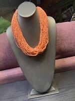 "Vintage Boheniman Peach Glass Seed Bead Multi Strand Necklace Boho 20"""