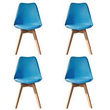 4 X (4X) (X4) BLUE Jamie Dining Chair Wood Retro Designer SOFT PAD FAUX LEATHER