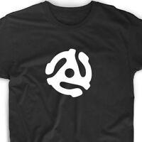 45 Record Adapter T Shirt Music Tee Musician Vinyl Collector Funny DJ Album Gift
