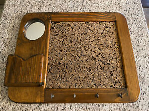Antique Wood Display Board w/ Cork Board Mirror Hooks Storage Mail Bin