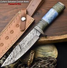 Custom Hand Made Damascus Steel Blade Bowie Hunting Knife | CAMEL BONE